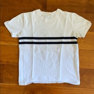 White shirt with two navy stripes!